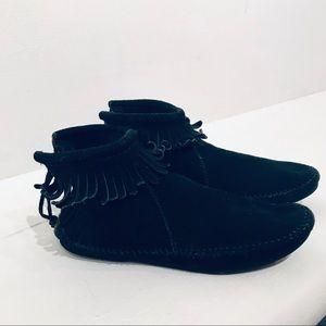 Vintage 80s Black Suede Moccasin Ankle Booties  7